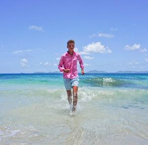 Childrens Linen Shirt: HOT PINK running on the shore Mustique