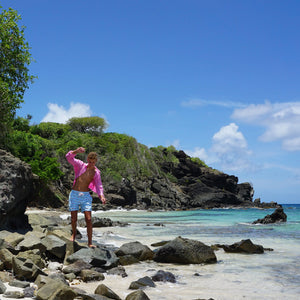 Childrens Linen Shirt: HOT PINK rock climbing in Mustique