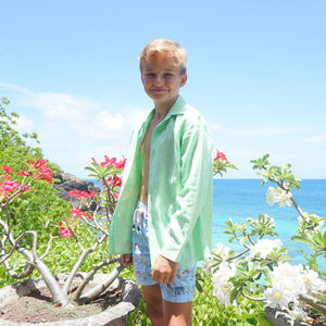 Childrens Linen Shirt: PISTACHIO GREEN, Mustique life