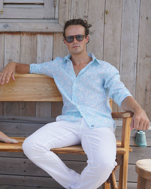 Mens Linen Shirt : PAPAYA CLEAR BLUE - Mustique style at Basils Bar