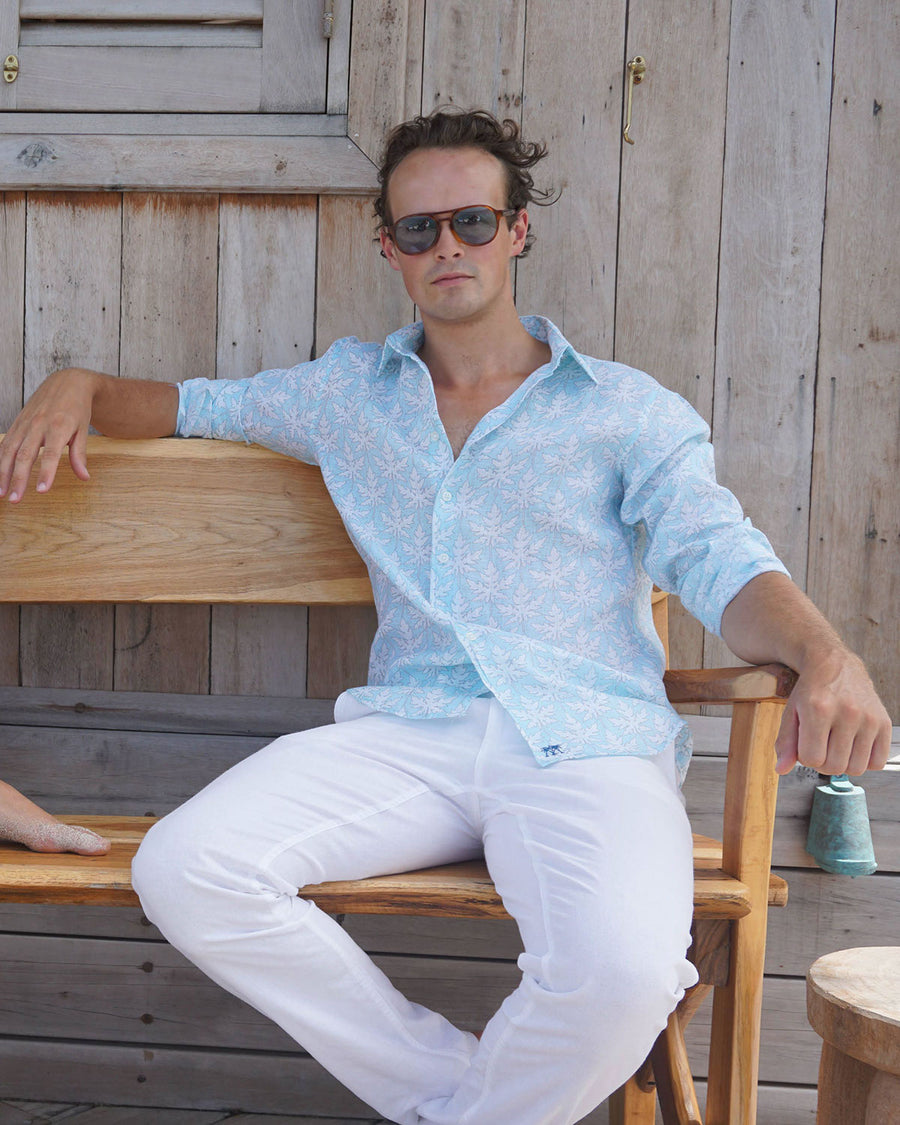 Mens Linen Shirt : PAPAYA CLEAR BLUE