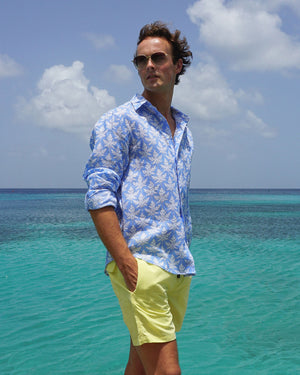 Mens Linen Shirt : PAPAYA BLUE - Mustique life