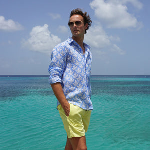 Mens swim trunks : YELLOW, Mustique island life