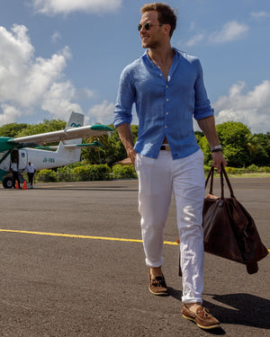 Mens Linen Shirt : FRENCH BLUE, walking across Mustique airport