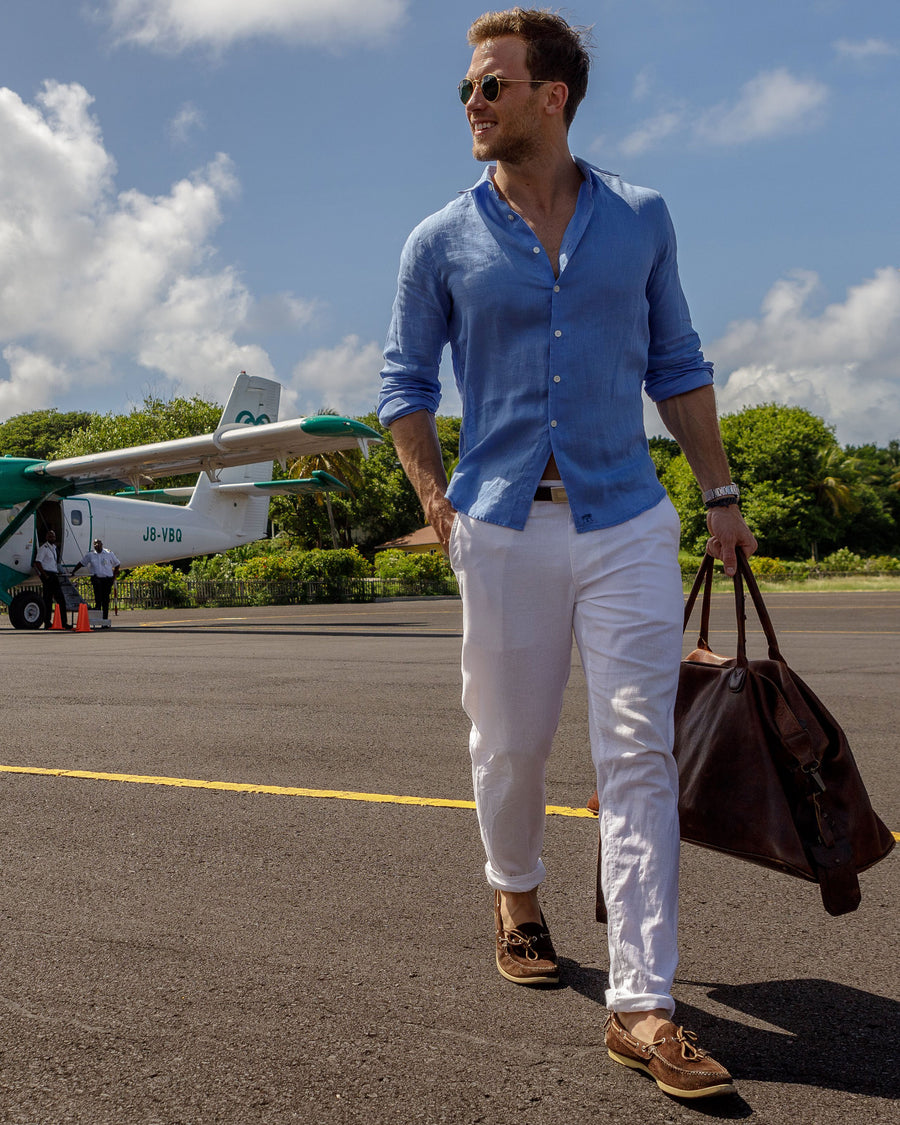 Mens Linen Shirt : FRENCH BLUE designer Lotty B for Pink House Mustique