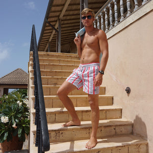 Mens swim trunks : PALM STRIPE - RED, Mustique villa life