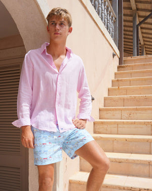 Mens Linen Shirt : PALE PINK