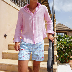 Mens swim trunks : MUSTIQUE MULE - MULTI styled with pale pink linen shirt. Caribbean holiday clothes Mustique