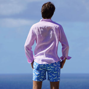 Mens swim shorts: WHALE - BLUE
