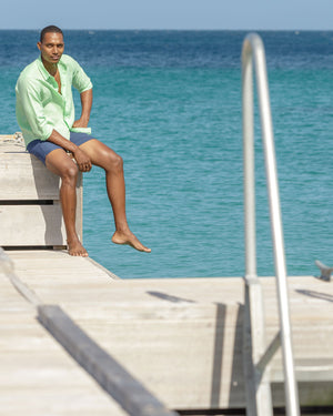 Mens Long-sleeve Linen Shirts (Pistachio Green) Pontoon Mustique