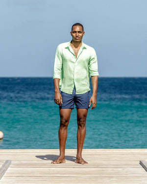 Mens Long-sleeve Linen Shirts (Pistachio Green) - Mustique lifestyle