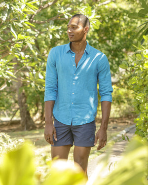 Mens Linen Shirt (Turquoise) Mustique holiday shirt