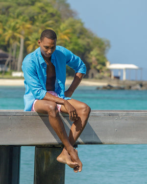 Mens Linen Shirt (Turquoise) Cotton House pier Mustique