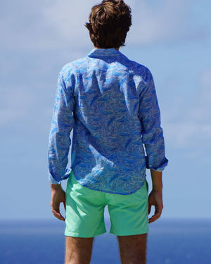 Mens pure linen shirt in blue whale print by Lotty B Mustique Resortwear
