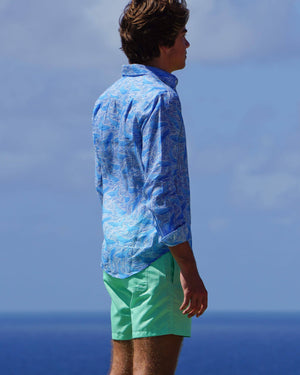 Mens pure linen shirt in blue whale print by Lotty B Mustique vacation wear