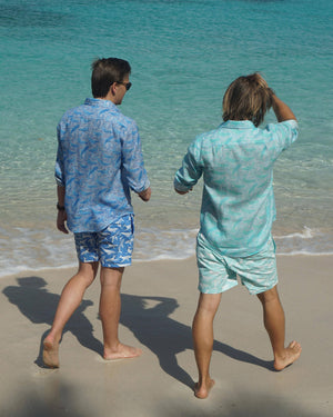 Mens pure linen shirt in blue whale print by Lotty B Mustique Caribbean beachwear