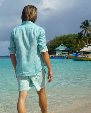 Mens Linen Shirt in Turquoise Green Whale Print by Lotty B Mustique beachwear