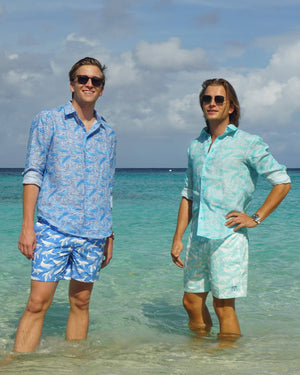 Mens pure linen shirt in blue whale print by Lotty B Mustique Caribbean island fashion