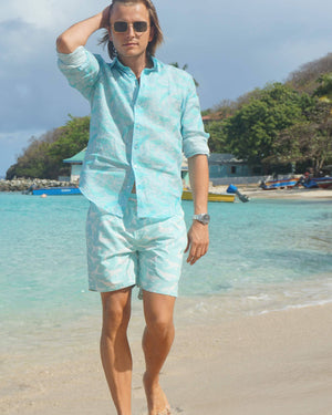 Mens Linen Shirt in Turquoise Green Whale Print by Lotty B Mustique Caribbean style