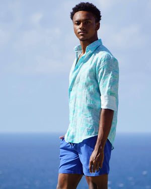 Mens Linen Shirt in Turquoise Green Whale Print by Lotty B Mustique Caribbean lifestyle