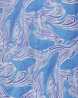 Linen swatch Whale blue print by Lotty B Mustique