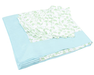 Tablecloth & Napkin set: FLAMBOYANT FLOWER - GREEN designed by Lotty B for Pink House Mustique British designer fashion & interiors from the Caribbean