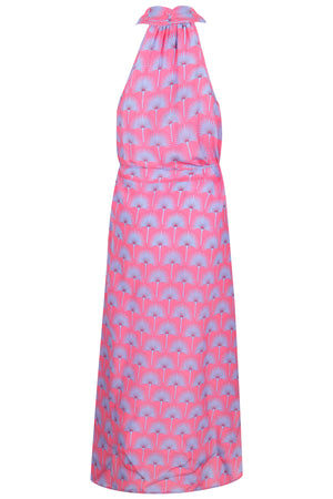 Lotty B 3/4 Halter Dress in Silk Crepe-de-Chine: SINGLE PALM REPEAT - PINK / BLUE back