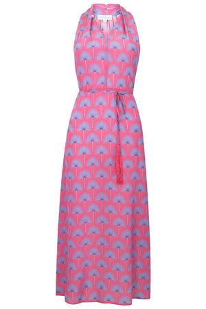 Lotty B 3/4 Halter Dress in Silk Crepe-de-Chine: SINGLE PALM REPEAT - PINK / BLUE Front