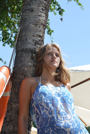 Lotty B Beach Dress in Silk Chiffon (Seahorse, Blue) Mustique life
