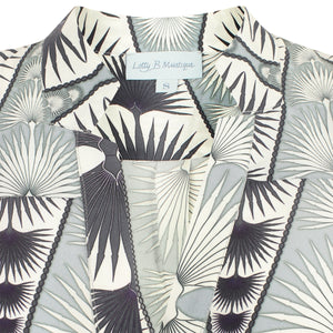 Lotty B Silk Crepe-de-Chine Blouse: FAN PALM REPEAT - BLACK & WHITE collar detail