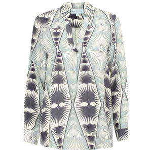 Lotty B Silk Crepe-de-Chine Blouse: FAN PALM REPEAT - BLACK & WHITE