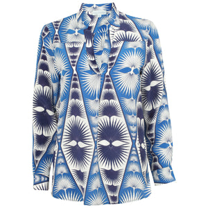 Lotty B Silk Crepe-de-Chine Blouse: FAN PALM REPEAT - BLUE & WHITE