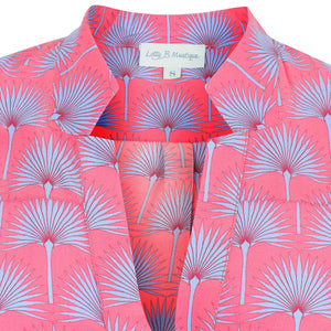 Lotty B Silk Crepe-de-Chine Blouse: SINGLE PALM REPEAT - PINK / BLUE