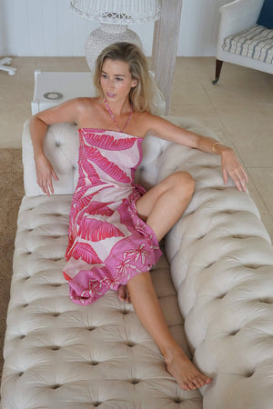 Pure silk sarong in Banana Tree pink design by Lotty B Mustique dress with matching shirred silk top