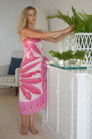 Pure silk sarong scarf wrap in Banana Tree pink design by Lotty B Mustique villa style