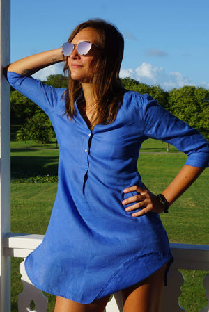 womens linen dress, dazzling blue by Lotty B Mustique island lifestyle