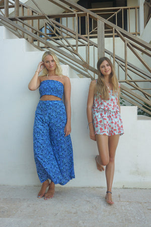 Silk Gabija Palazzo Pants: FLAMBOYANT FLOWER - BLUE designer Lotty B Mustique villa style