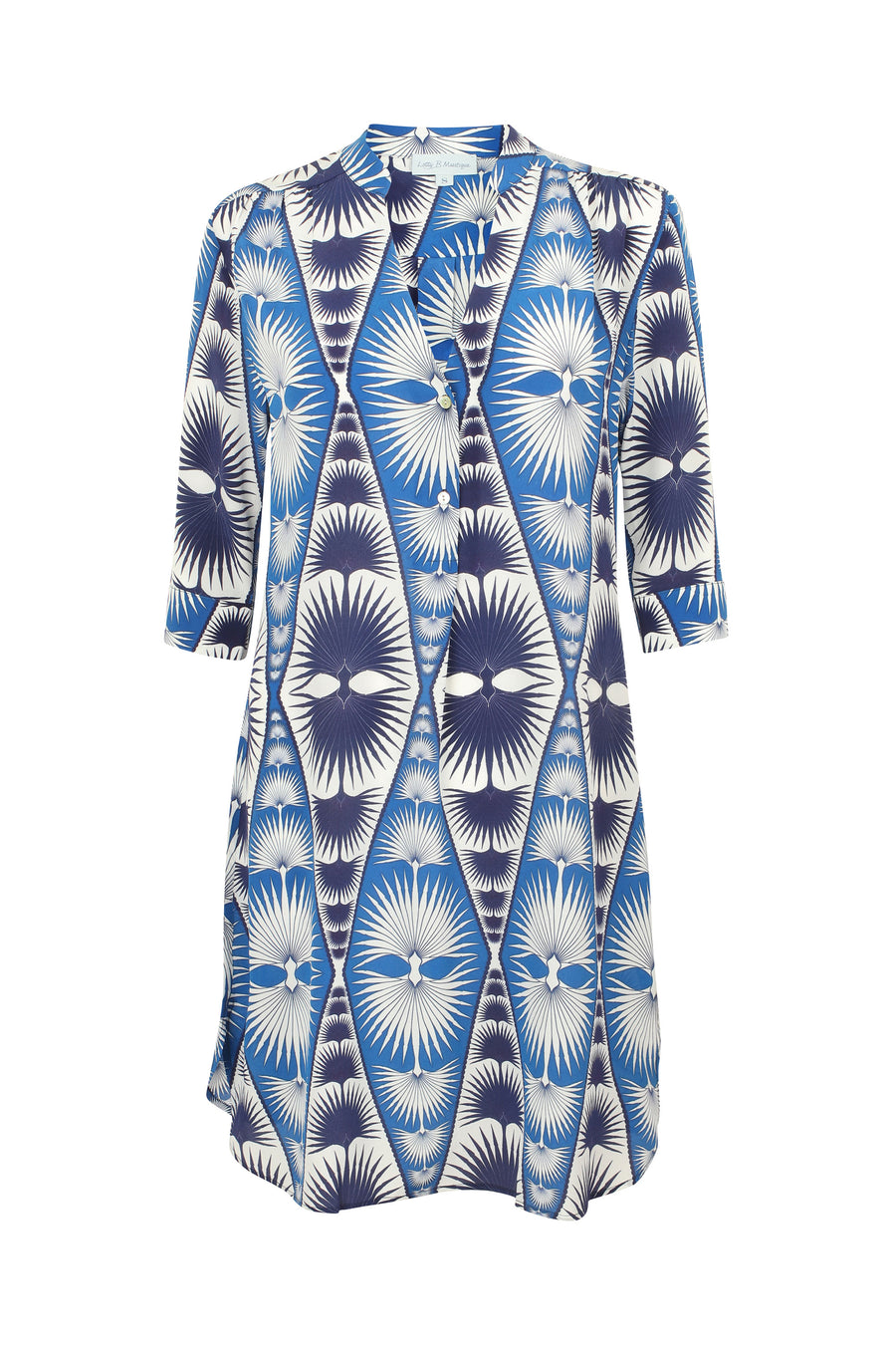 Lotty B Flared Dress in Silk Crepe-de-Chine: FAN PALM REPEAT - BLUE / WHITE