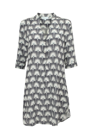 Lotty B Flared Dress in Silk Crepe-de-Chine: SINGLE PALM REPEAT - BLACK / WHITE