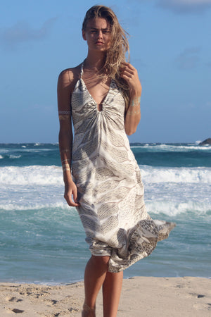 Lotty B Halter-Neck Dress Long ~ Leaves (Lichen) Mustique beach