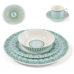 Fine Bone China Dinner Service : MUSTIQUE ISLAND - Bowl, Salad plate, Dinner plate, Side plate, Coffee cup & Saucer