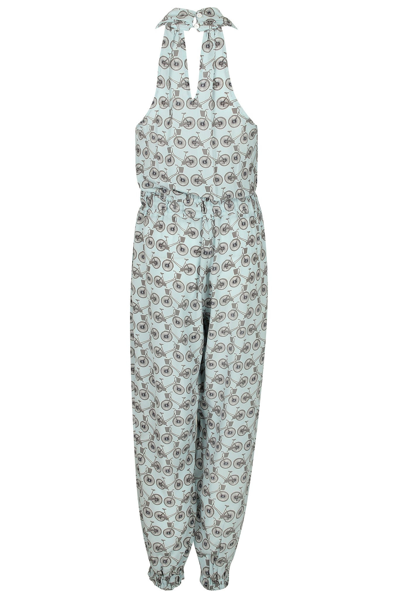 Lotty B Jumpsuit in Silk Crepe-de-Chine: BICYCLE - BLACK/PALE BLUE Back