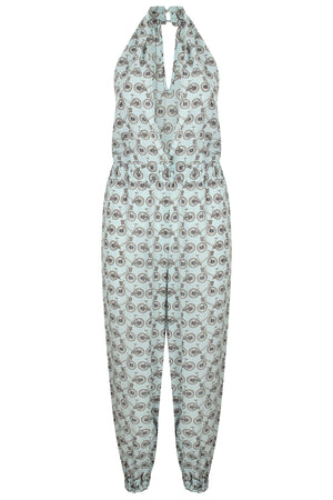 Lotty B Jumpsuit in Silk Crepe-de-Chine: BICYCLE - BLACK/PALE BLUE Front