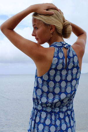 Lotty B Jumpsuit in Silk Crepe-de-Chine: PINEAPPLE - BLUE back turning head Mustique