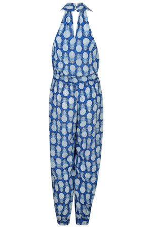 Lotty B Jumpsuit in Silk Crepe-de-Chine: PINEAPPLE - BLUE Back