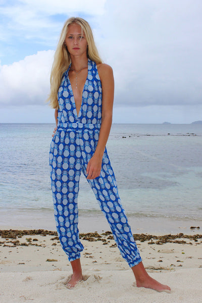 Lotty B Jumpsuit in Silk Crepe-de-Chine: PINEAPPLE - BLUE front, on the beach Mustique