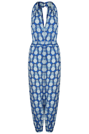 Lotty B Jumpsuit in Silk Crepe-de-Chine: PINEAPPLE - BLUE Front