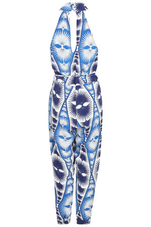Lotty B Jumpsuit in Silk Crepe-de-Chine: FAN PALM REPEAT - BLUE back