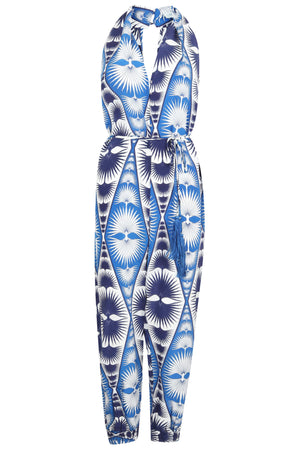 Lotty B Jumpsuit in Silk Crepe-de-Chine: FAN PALM REPEAT - BLUE Front