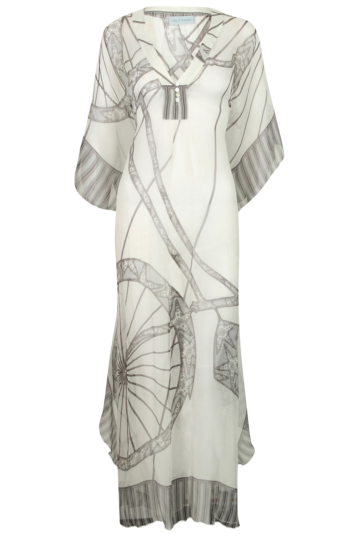 Lotty B Long Kaftan in Chiffon: BICYCLE - BLACK & WHITE